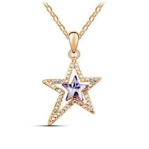 NWOT Double Star Purple Crystal Pendant Necklace